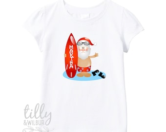 Surfing Santa Personalised Christmas T-Shirt