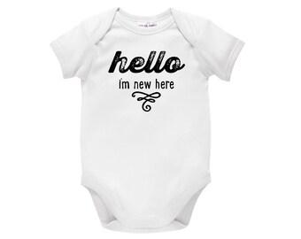 Hello I'm New Here Baby Bodysuit