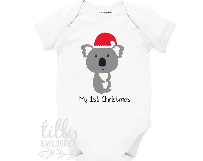 My 1st Christmas Koala Bear Baby Bodysuit