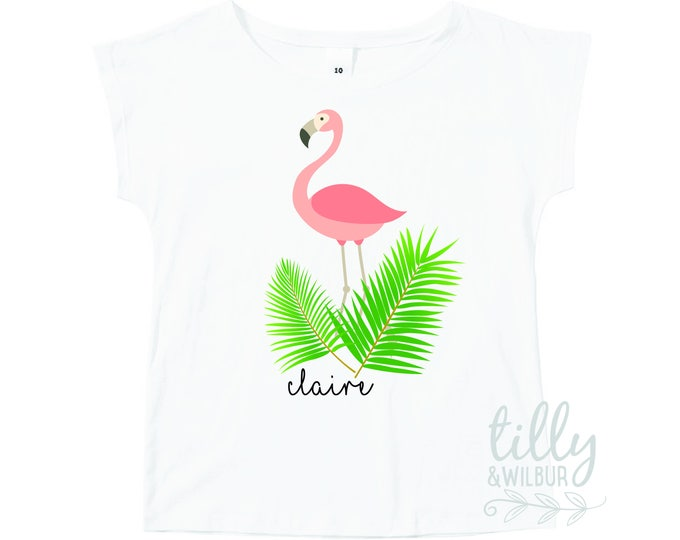 Personalised Girls Flamingo T-Shirt