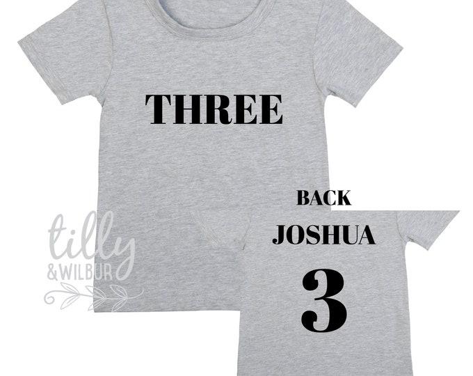 Three Personalised Boys 3rd Birthday T-Shirt