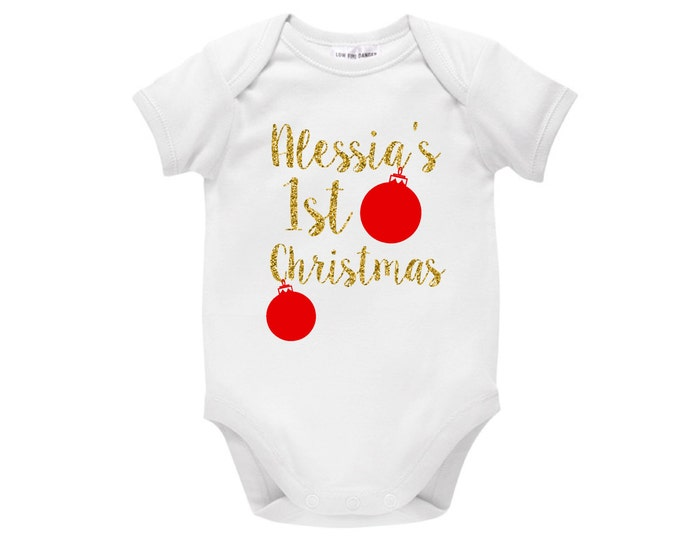 Personalised 1st Christmas Baby Outfit
