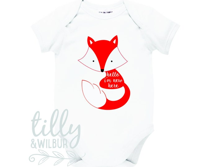 Hello I'm New Here Fox Baby Bodysuit