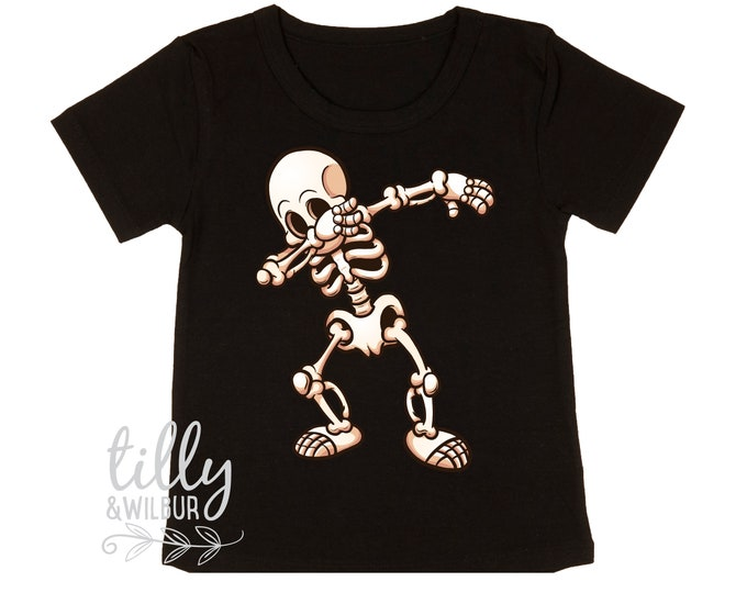 Dabbing Skeleton Halloween T-Shirt For Boys