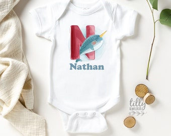 Narwhal Whale bodysuit Narwhal Baby Boy Bodysuit and Hat set nautical narwhal baby shower gift baby boy Narwhal apparel baby clothing