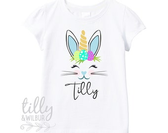 Floral Bunny Easter T-Shirt For Girls