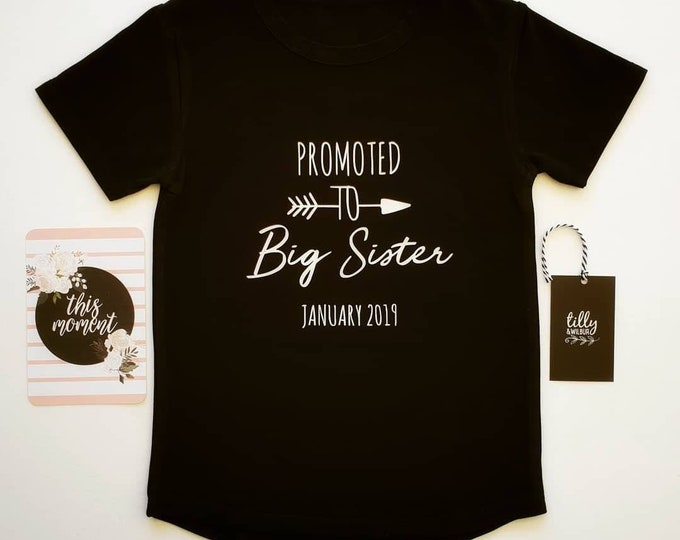 Promoted To Big Sister Personalised Pregnancy Announcement T-Shirt For Girls Aged 0-16