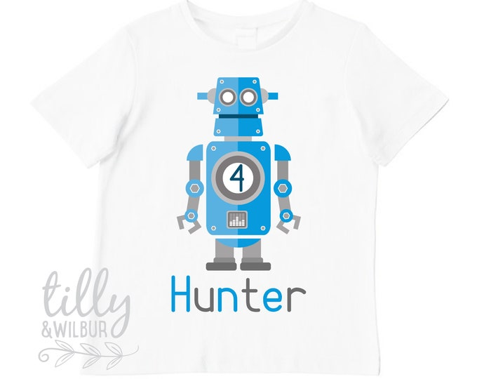 Robot 4th Birthday T-Shirt For Boy's
