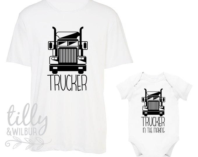 Trucker, Trucker In The Making Father Son Matching Shirts