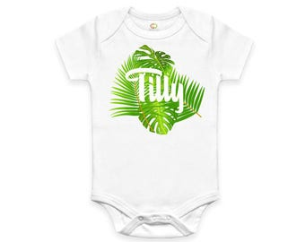 Personalised Tropical Design Baby Bodysuit