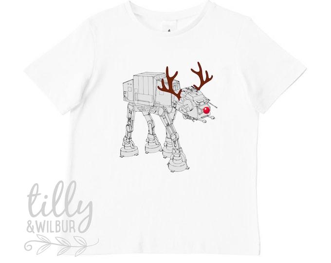 Star Wars AT-AT Walker Christmas Reindeer Boy's T-Shirt