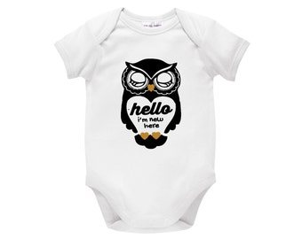 Hello I'm New Here Baby Bodysuit, One-Piece Gift For Newborn, White Cotton, Unisex For Girls Or Boys With Sweet Sleeping Owl, U-W-BS