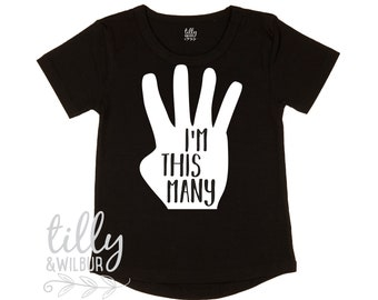 I'm This Many Four Fingers Birthday T-Shirt