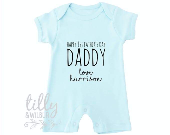 Happy 1st Father's Day Daddy Personalised Father's Day Baby Bodysuit