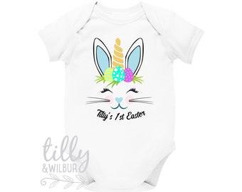 Personalised 1st Easter Baby Bodysuit, Unicorn Bunny, First Easter Baby Bodysuit, Newborn Easter Gift, 1st Easter Outfit, Baby's 1st Easter