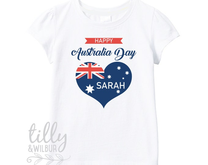 Personalised Happy Australia Day T-Shirt For Girls