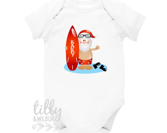 Surfing Santa Personalised Christmas Baby Bodysuit