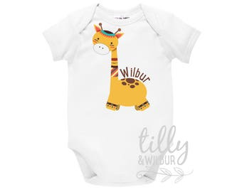 Personalised Baby Bodysuit With Giraffe