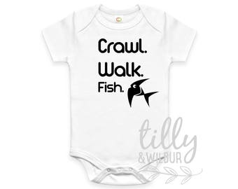 Crawl Walk Fish Baby Bodysuit