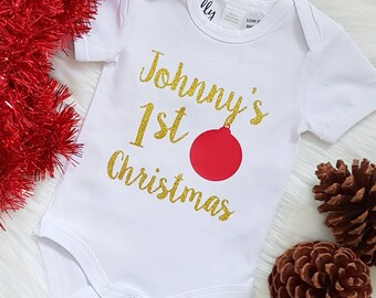 Personalised 1st Christmas Baby Bodysuit