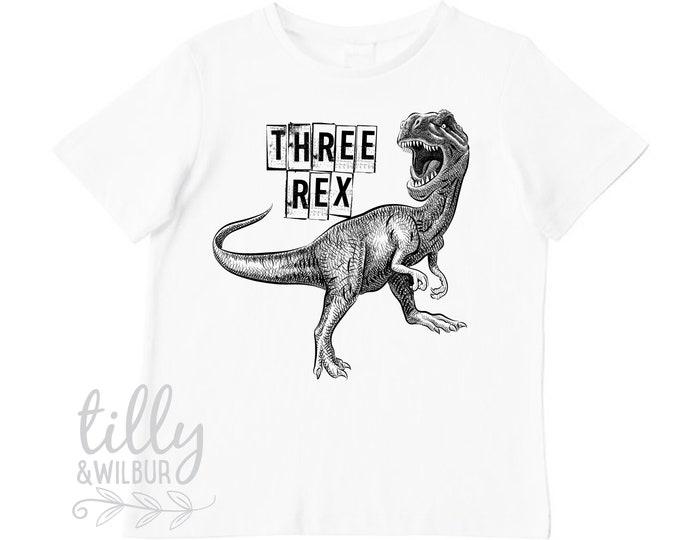 Three Rex Third Birthday T-Shirt For Boys