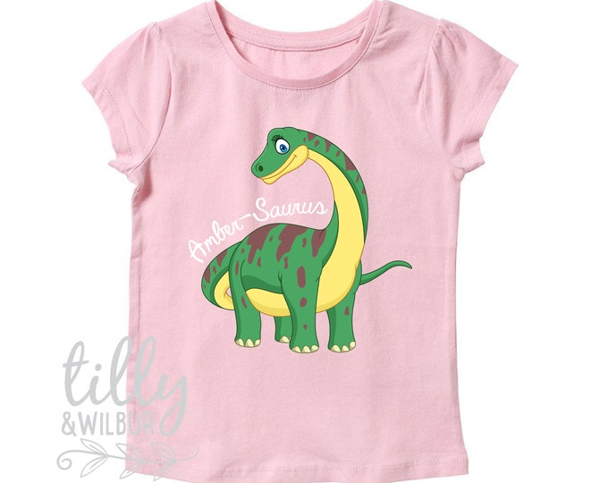 Personalised Dinosaur T-Shirt For Girls