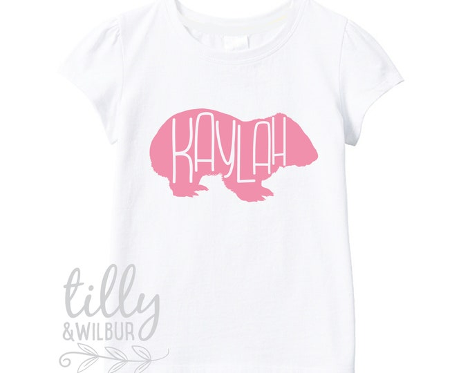 Personalised Wombat T-Shirt For Girls