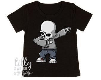 Dabbing Skeleton Halloween T-Shirt For Boys