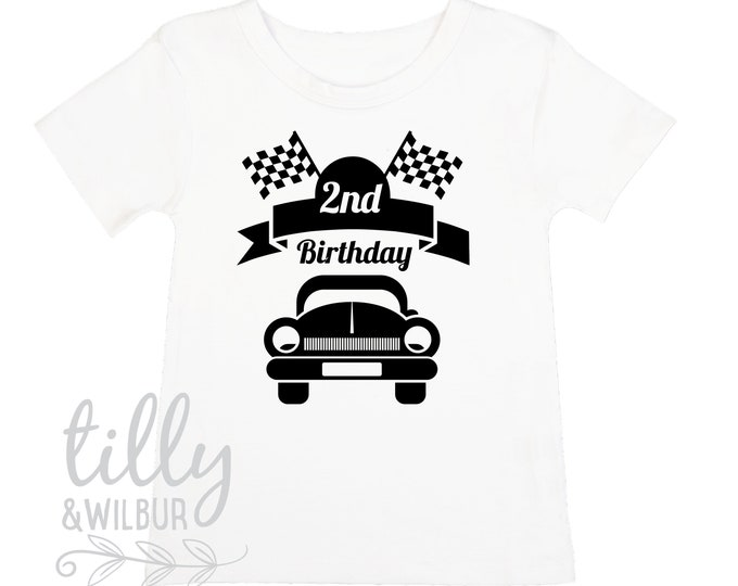 2nd Birthday T-Shirt For Boys With Racing Car