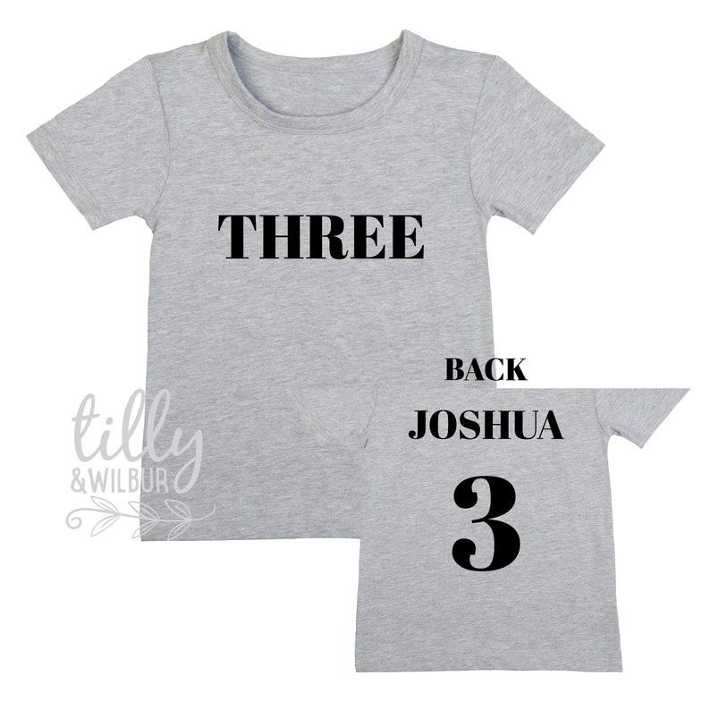 Three Personalised Boys 3rd Birthday T Shirt