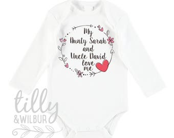 Uncle baby gift etsy my aunty and uncle love me baby bodysuit for new arrival nieces and nephews newborn negle Images