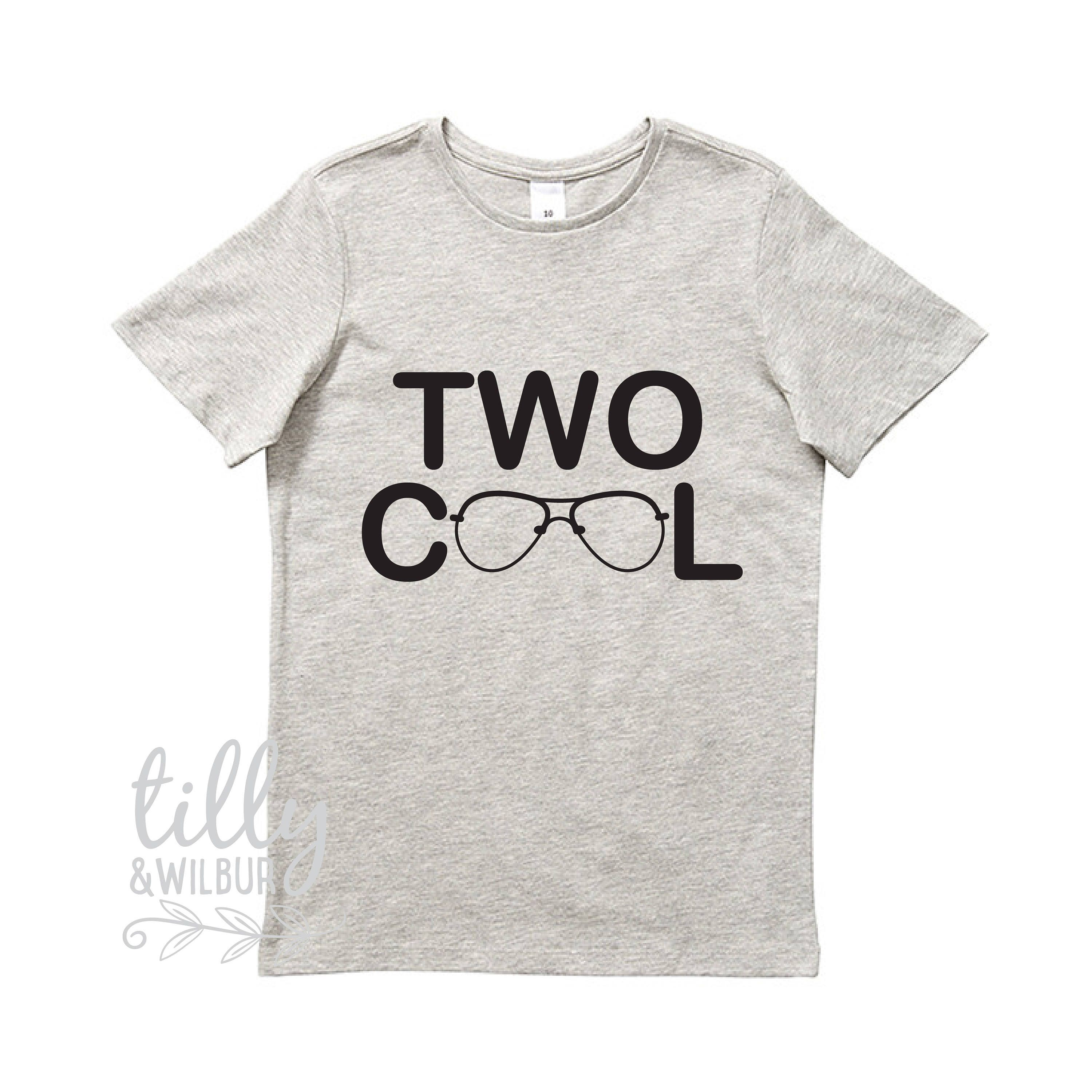 Two Cool Boys Birthday T Shirt 2 Year Old Boy Second Gift 2nd Present Outfit