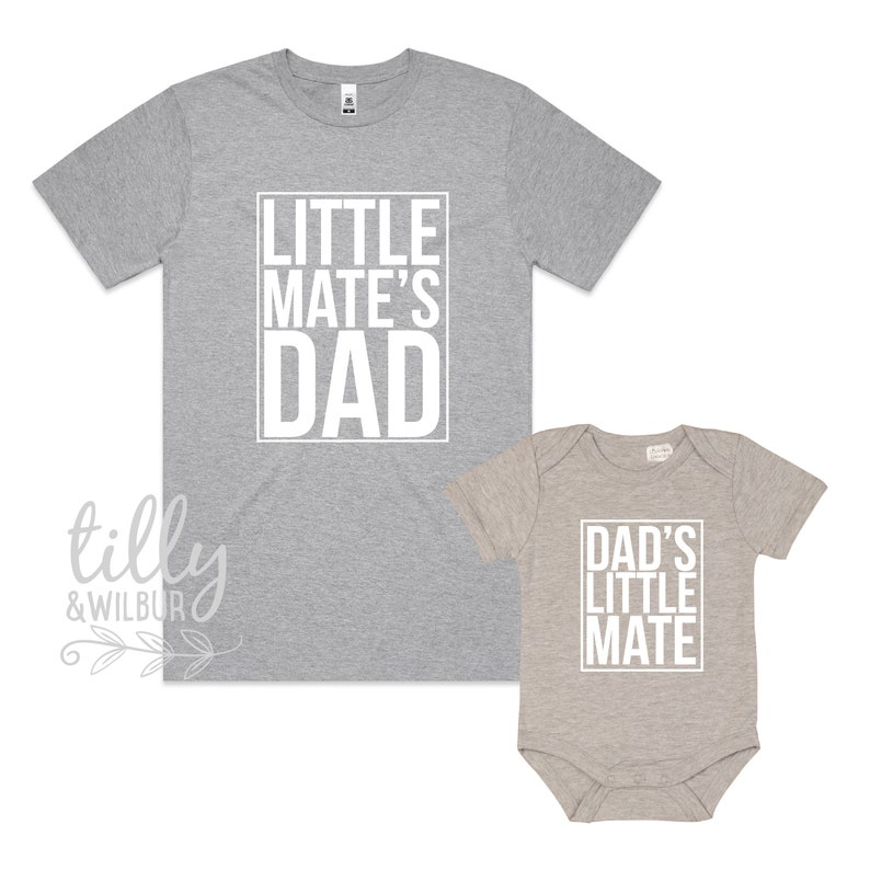 First 1st Father/'s Day Dad/'s Little Mate Matching Father/'s Day Shirt And Baby Bodysuit Father And Son Matching Outfits Little Mate/'s Dad