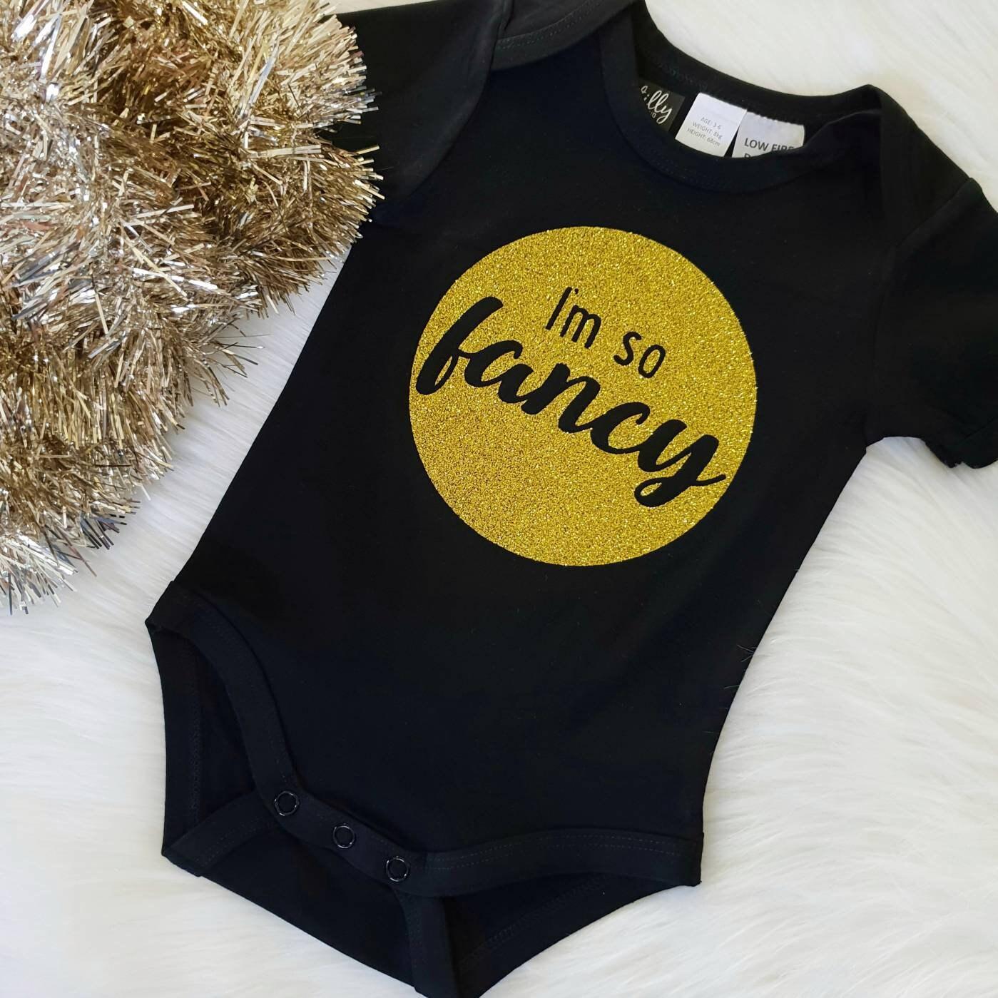 eb3458eedc2 I'm So Fancy Baby Bodysuit Baby Girl Clothes Glitter | Etsy