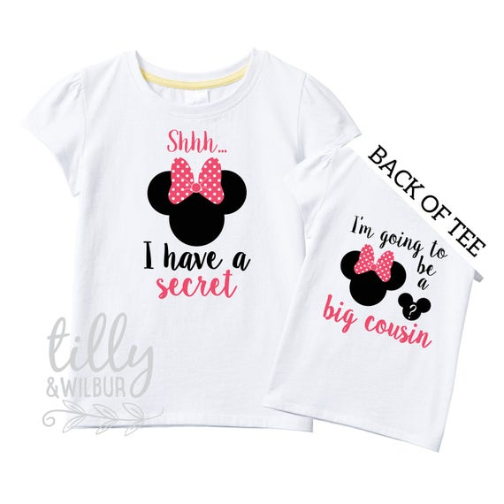 Shhh I have A Secret I/'m Going To Be A Big Cousin Mickey Mouse Boys T-Shirt