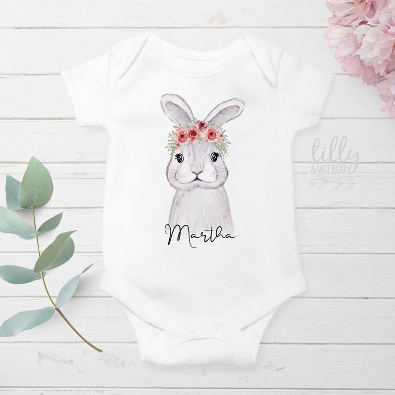 Easter Outfit Bunny Rabbit Baby Easter Gift Watercolour Personalised Easter Baby Bodysuit Easter Baby Bodysuit Newborn Easter Gift