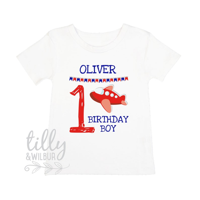 First Birthday T Shirt With Plane 1st