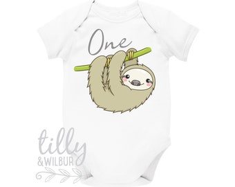 Sloth 1st Birthday Bodysuit For Boys