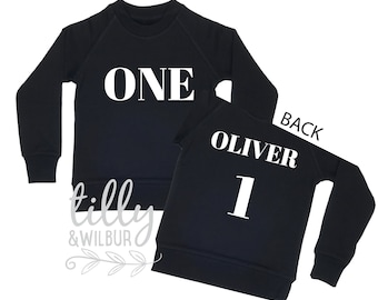 One Personalised Boys 1st Birthday Sweatshirt