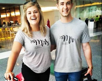 Mr and Mrs Personalised Matchy Matchy T-Shirt Set