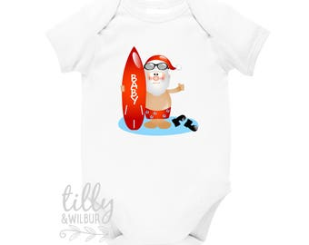 Surfing Santa Personalised Christmas Baby Bodysuit