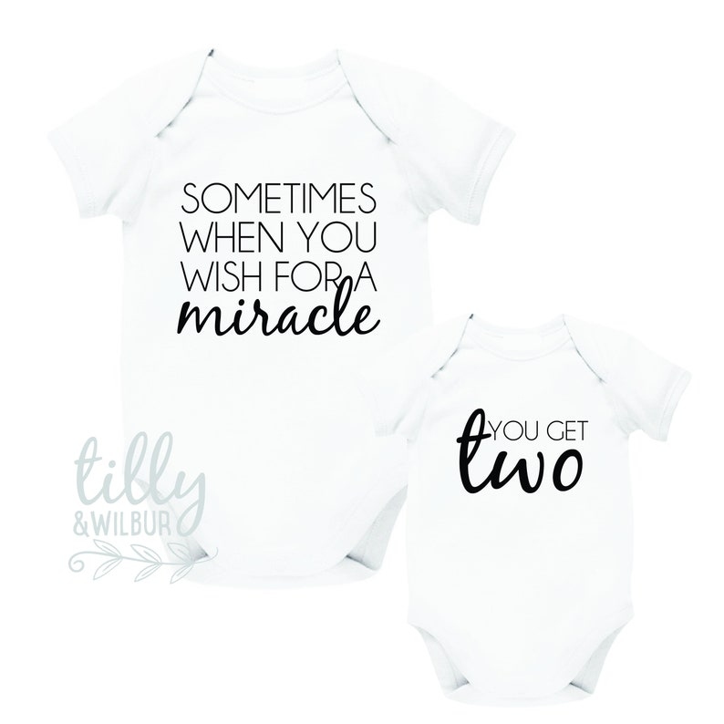 Sometimes When You Wish For A Miracle, You Get Two Twin Bodysuits, Twin  Baby Gift, Twins, Twin Baby Shower, Twin Pregnancy Announcement Gift