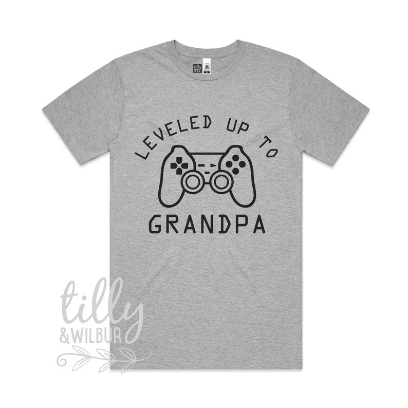 Pop 1st Grandbaby Gamer Pregnancy Announcement New Grandparent Gift Leveled Up To Grandpa Men/'s T-Shirt Pregnancy Announcement T-Shirt