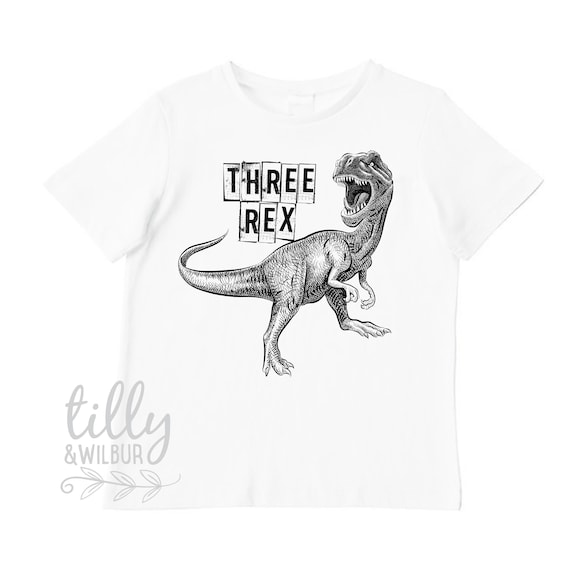 Three Rex Third Birthday T Shirt For Boys 3rd