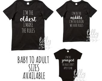 Sibling Shirt Set with Family Rules, Oldest, Middle, Youngest, 3 Shirt Set, Brother & Sister Set, Matching Family Shirts, Pecking Order