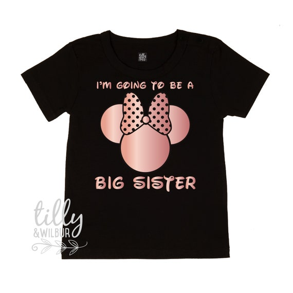 Big Sister T-Shirt for Girls With Minnie Mouse Design And Child/'s Name Personalised Big Sister Shirt Pregnancy Announcement T-Shirt Gift