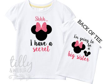 Shhh I Have A Secret I'm Going To Be A Big Sister TShirt for Girls