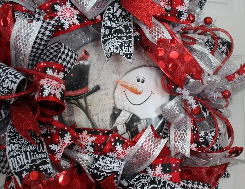 Christmas Decor Winter Snowman Holiday Snowman Snowman Door Decor Snowman Wreath Front Door Snowman Snowman Decor Buffalo Check Decor