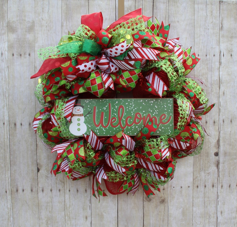 Welcome Sign Holiday Snowman Decor Christmas Decor Wreath Large Snowman Welcome Red And Green Holiday Deco Mesh Front Door Ribbon Wreath