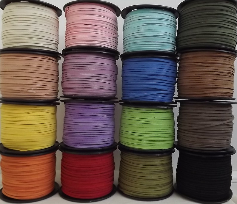 3mm Faux Suede Cord  Soft Flat cord Black brown and other image 0